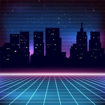 80s Retro Background City 1