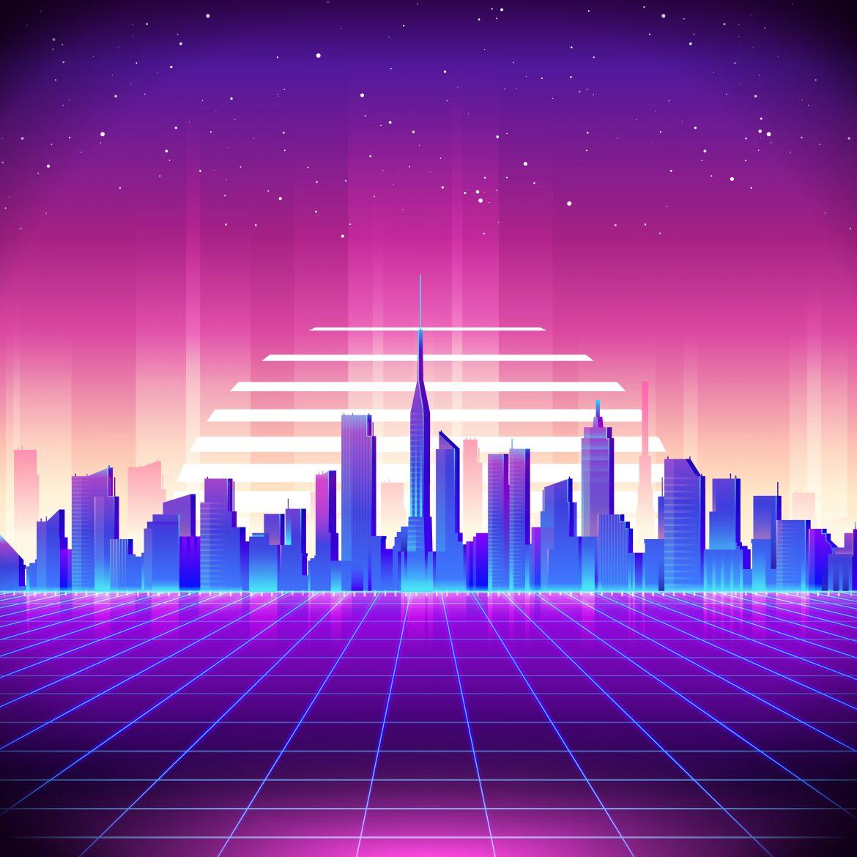 80s Retro Background City 2